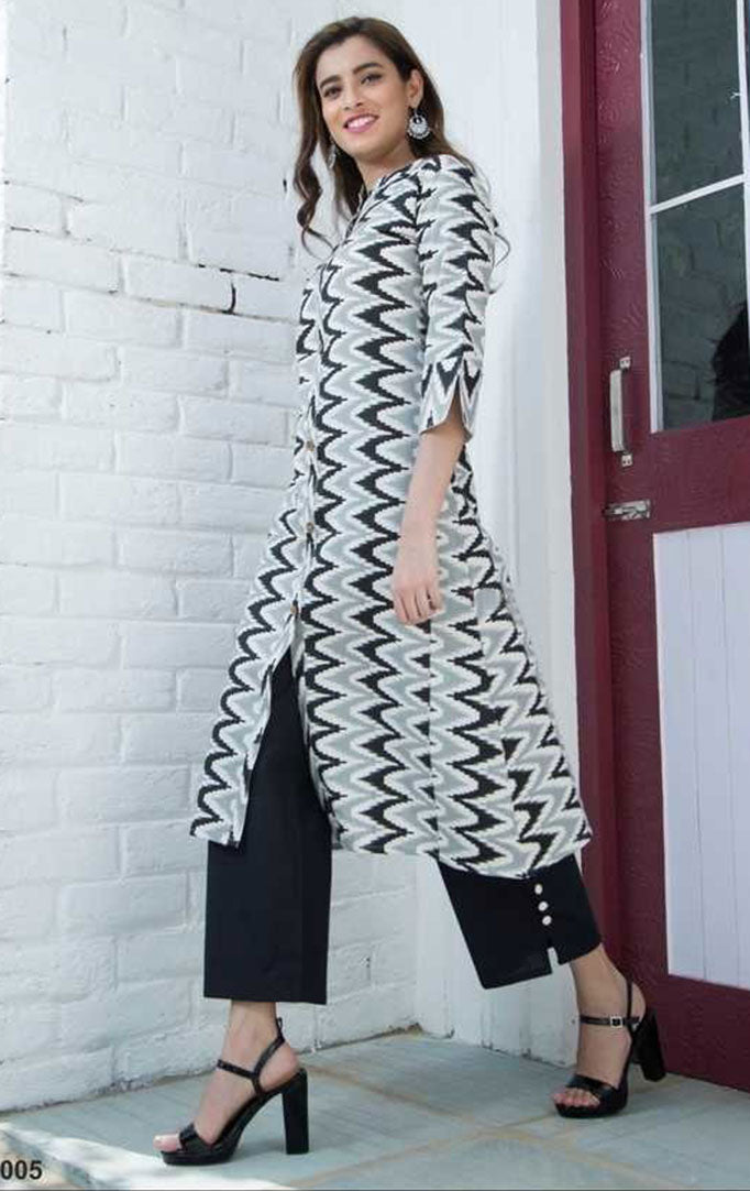 For The Lady In You Kurta And Palazzo Set In Black and White