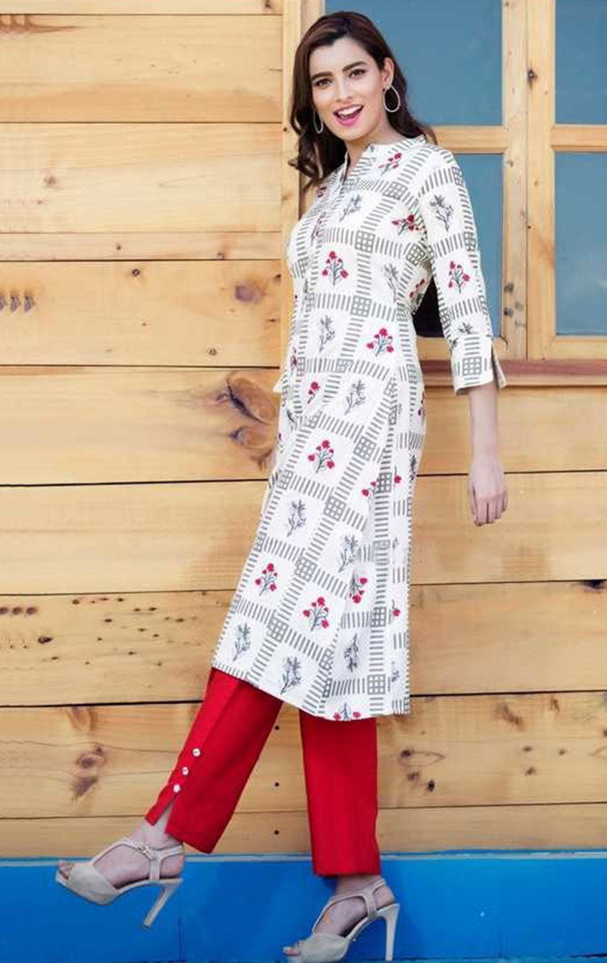 Happy-Go-Lucky Kurti And Cherry Red Palazzo Set