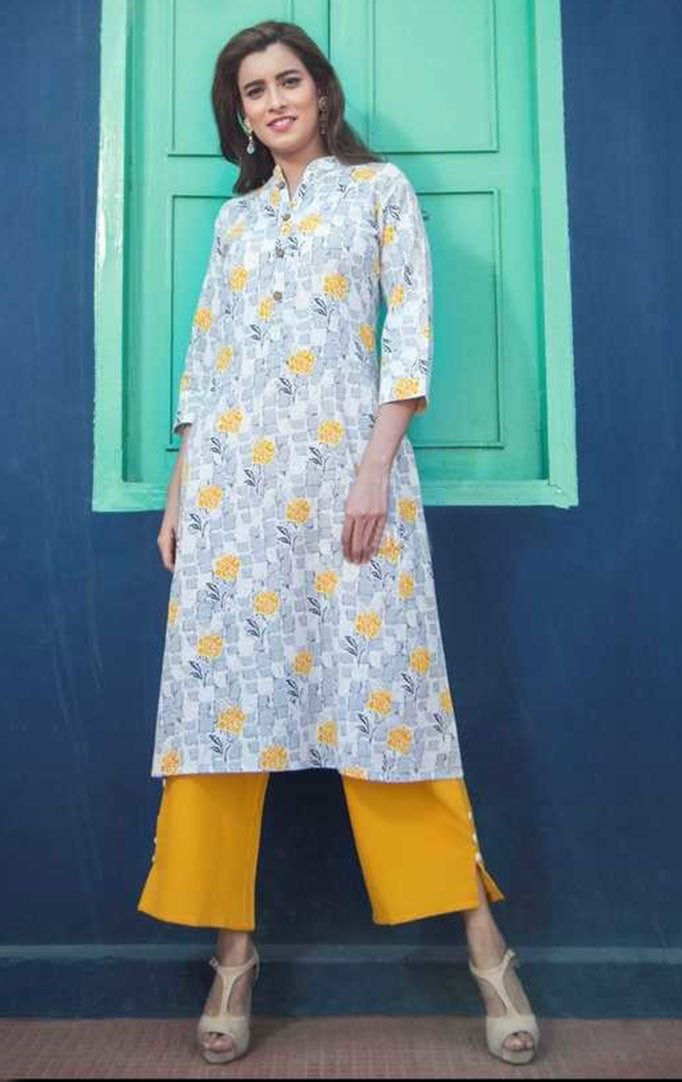Grey Hue Kurti And Mustard Palazzo Set