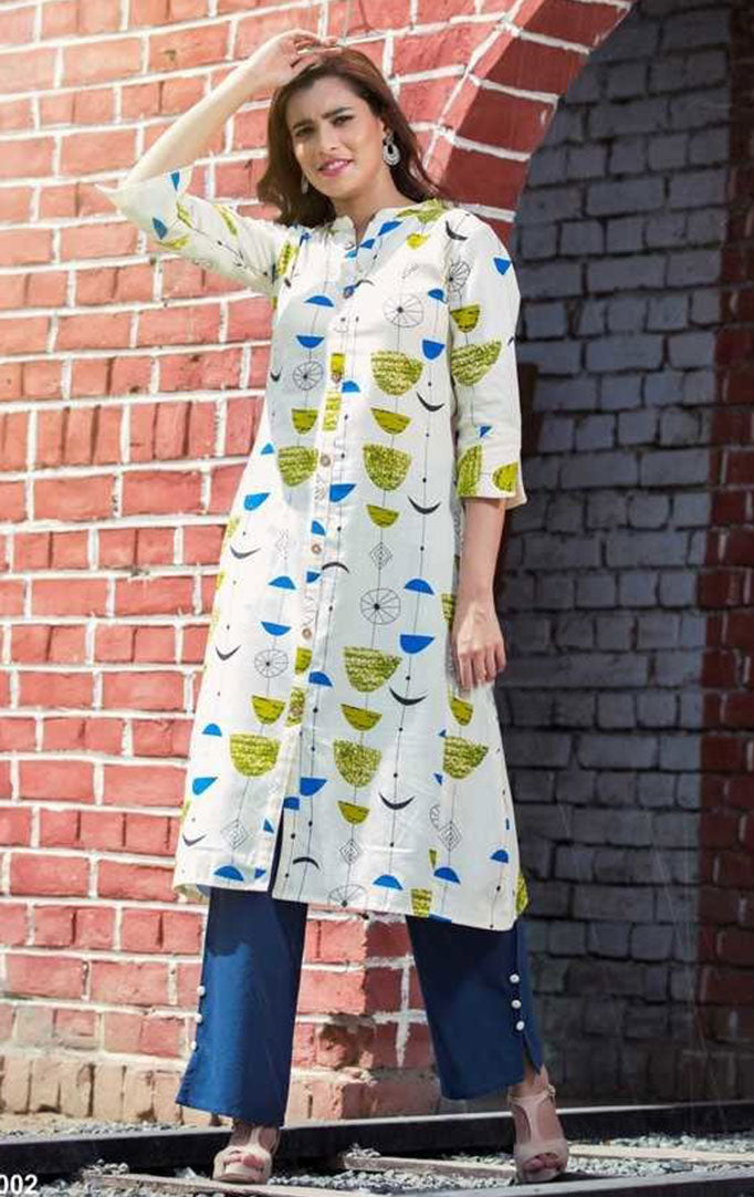 Abstract Print Kurti And Navy Blue Palazzo Set