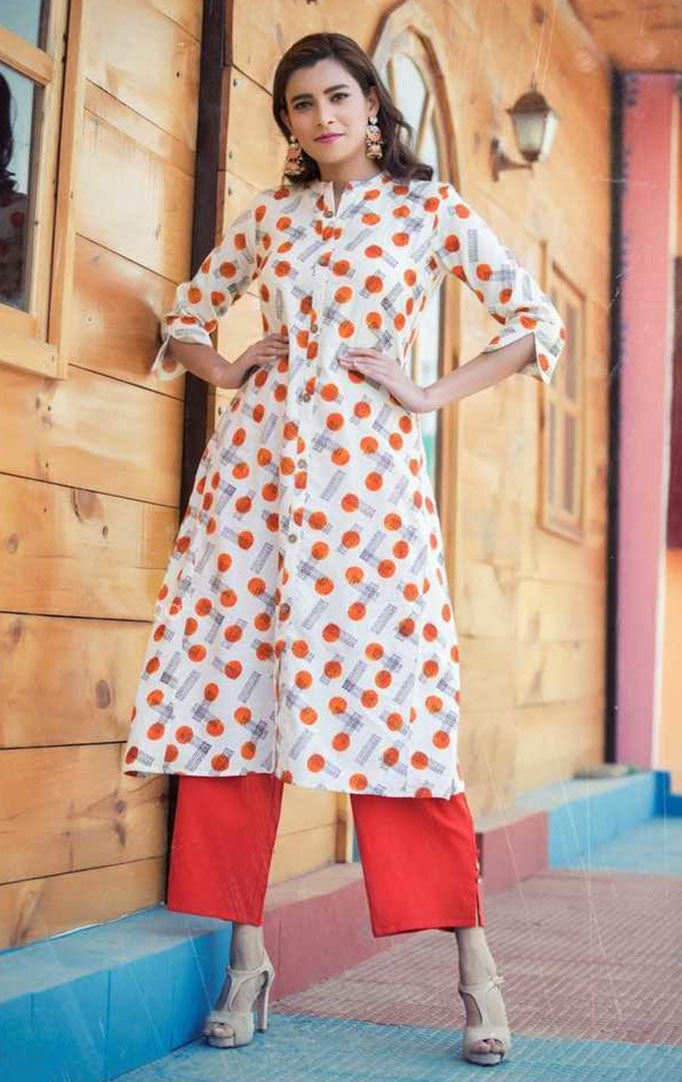 Geometric Print Kurti And Orange Palazzo Set