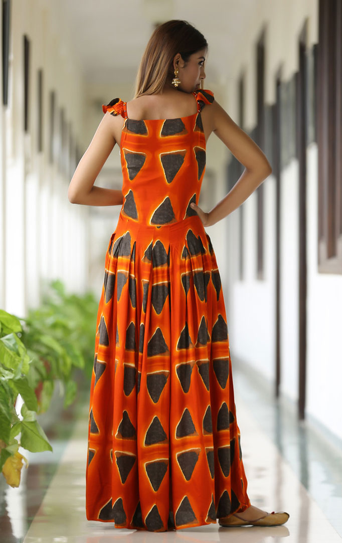Bright Orange Maxi with Triangular Motifs
