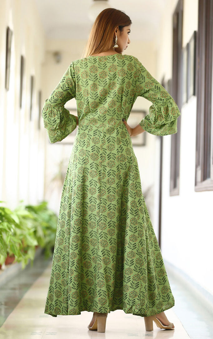 Front Buttoned Green Maxi Dress