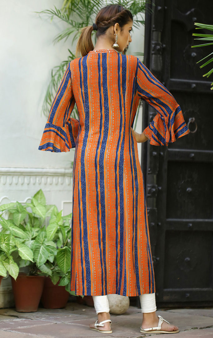 Orange and Blue Lining A-Line Dress