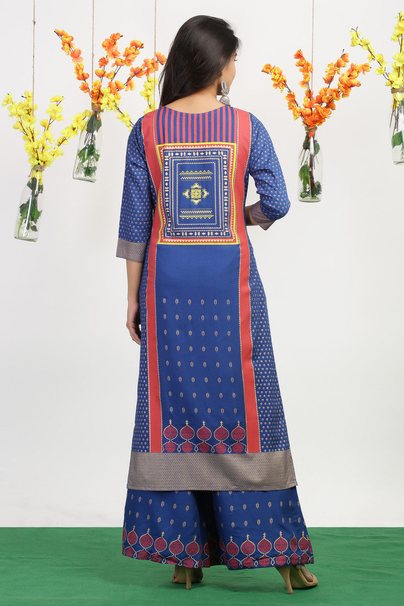 Kurta Palazzo set in Blue and Pink