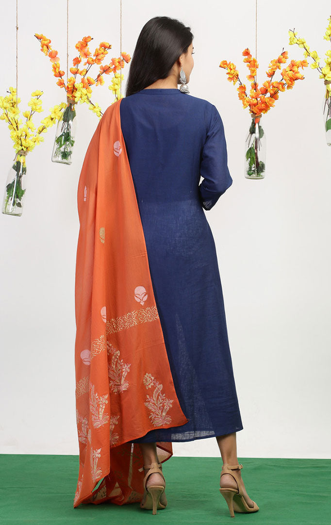 Anarkali Kurta-Dupatta Set in Blue-Orange