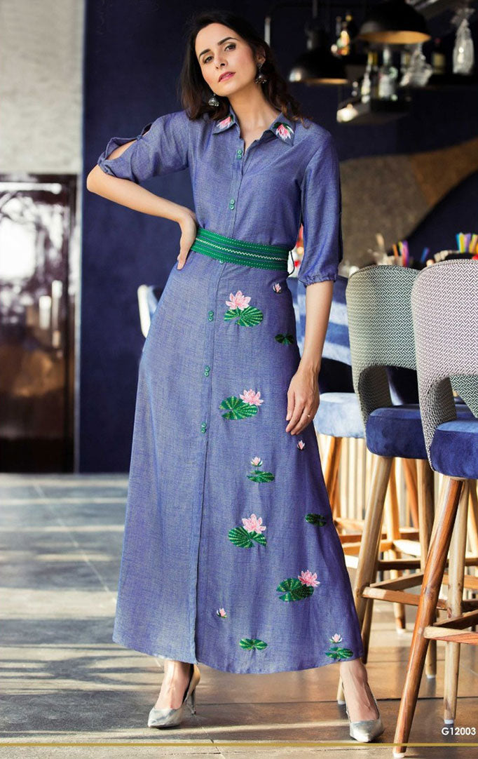 Blooming Lotus Embroidered Maxi Dress