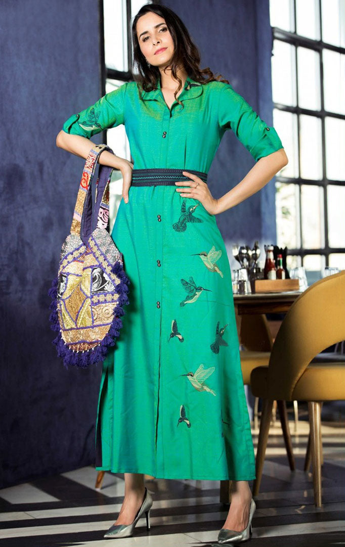 Green Embroidered Maxi Dress
