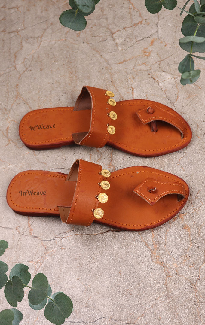Handmade Kolhapuri Chappals with Coin-detailing