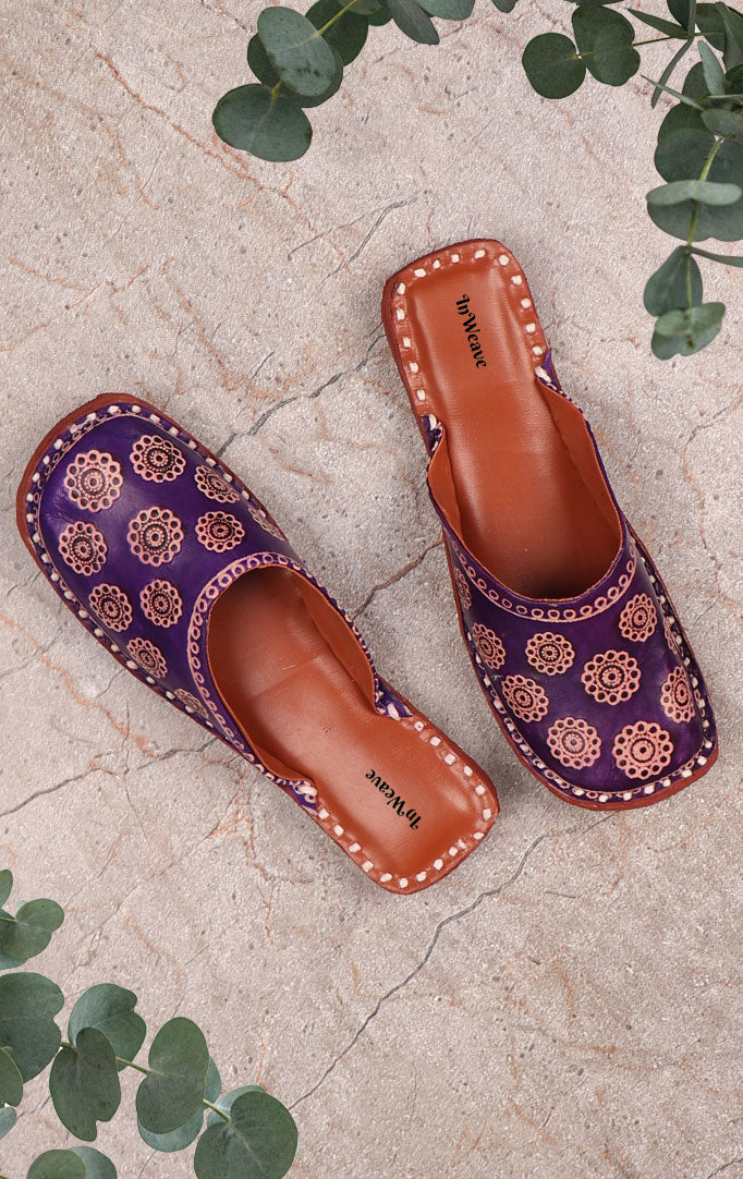 Purple Printed Leather Slip-ons