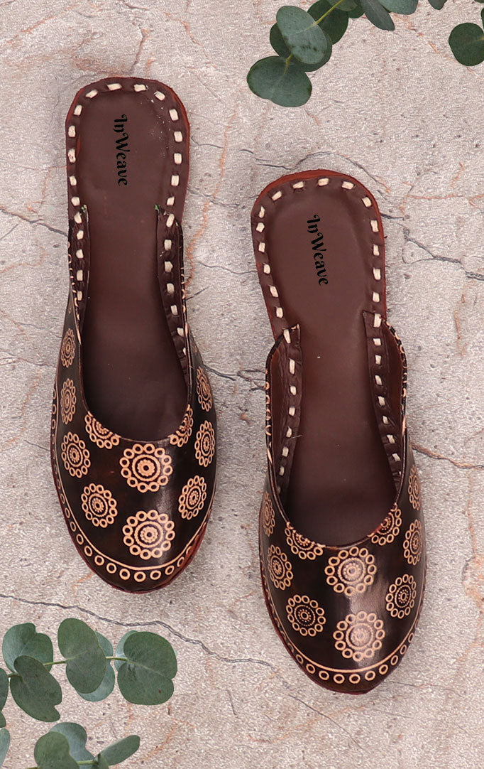 Brown Printed Leather Slip-ons