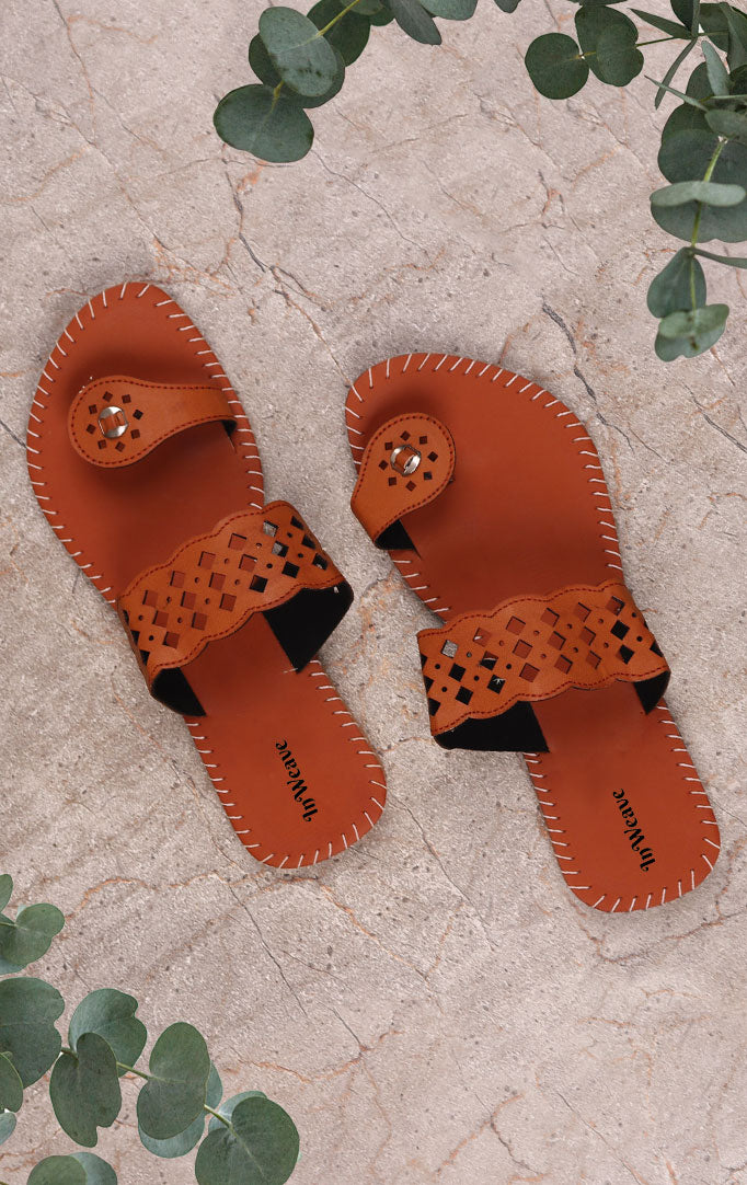 Tan Leather Chappals with Cutwork detailing