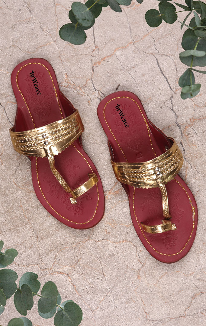 Golden Kolhapuris with Maroon base