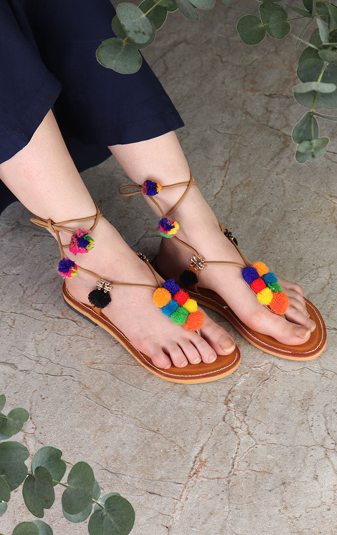 Strapped Chappals with PomPoms