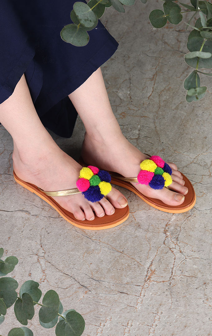 Golden Strapped Chappals with PomPoms