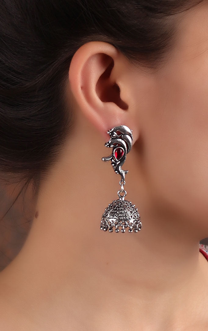 Intricate Silver Jhumkas with Pink Stone