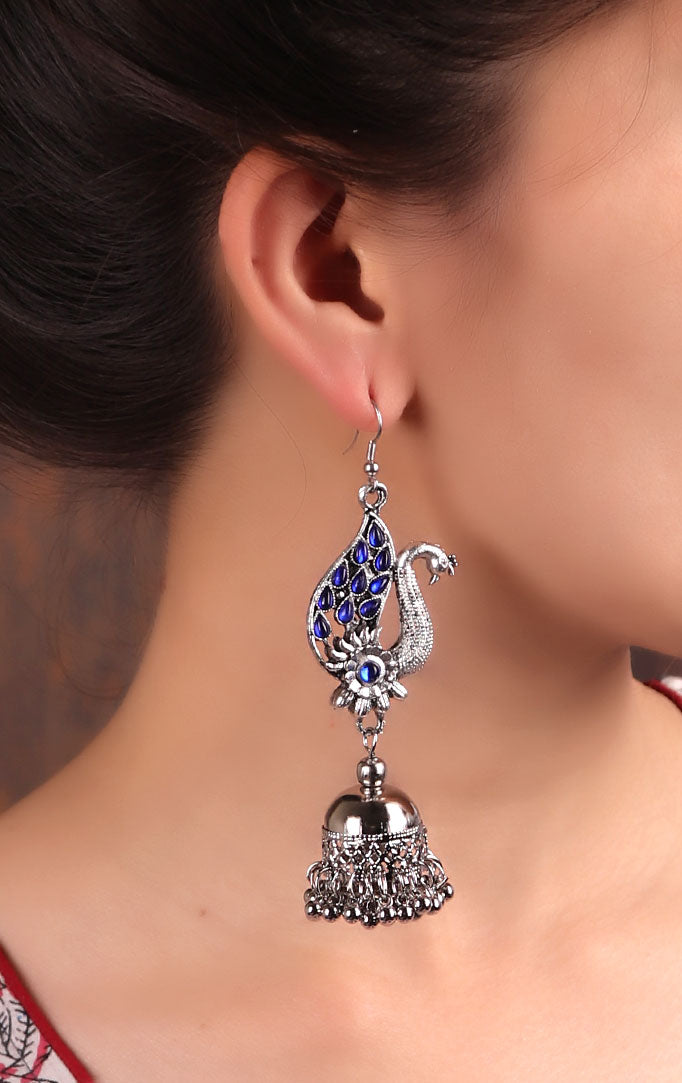 Peacock motif Statement Jhumkas