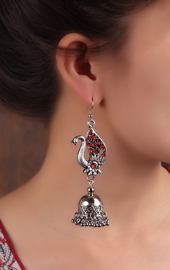Red stone Encrusted Peacock Jhumkas