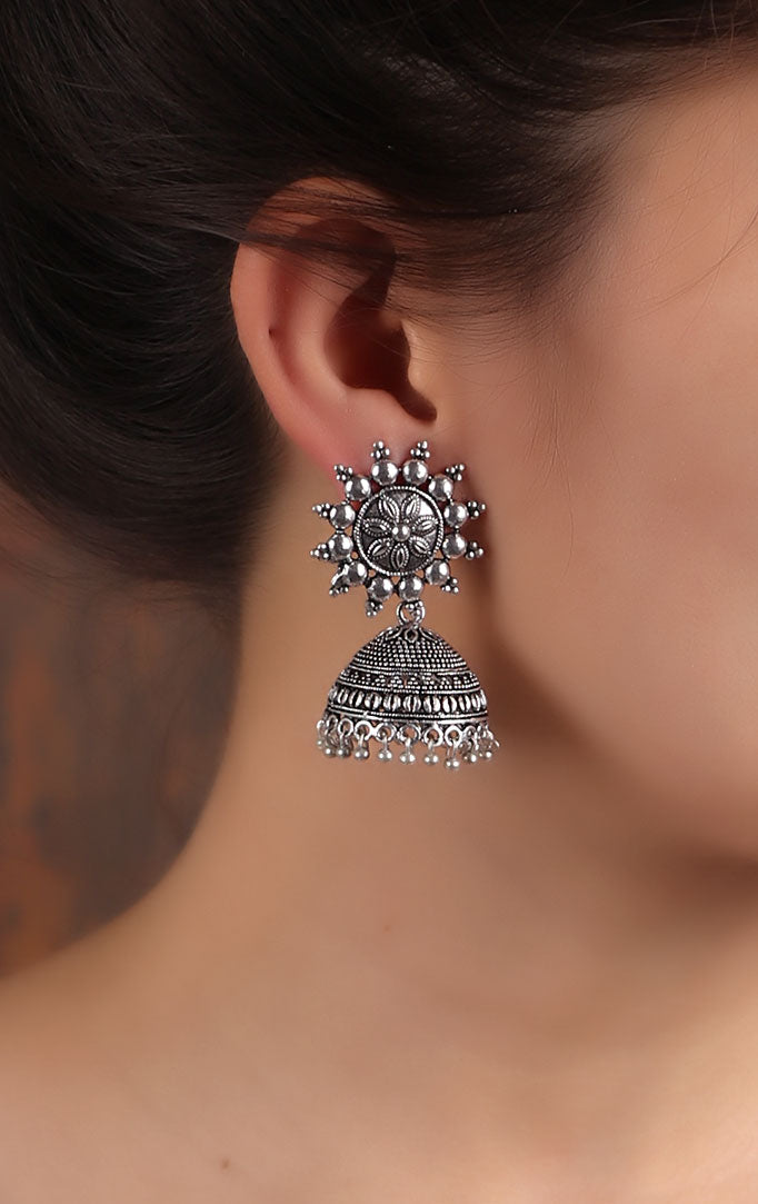 Traditional Silver Jhumkas with Floral Motif