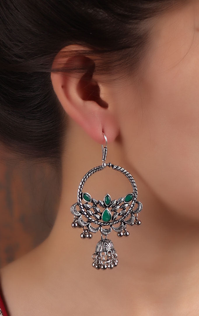 Chandbali Jhumki Earrings in Silver & Green