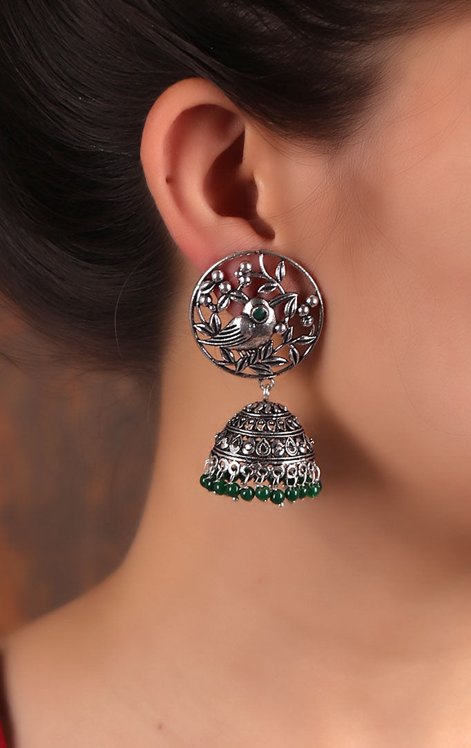 Nature-inspired Jhumkas in Green & Silver