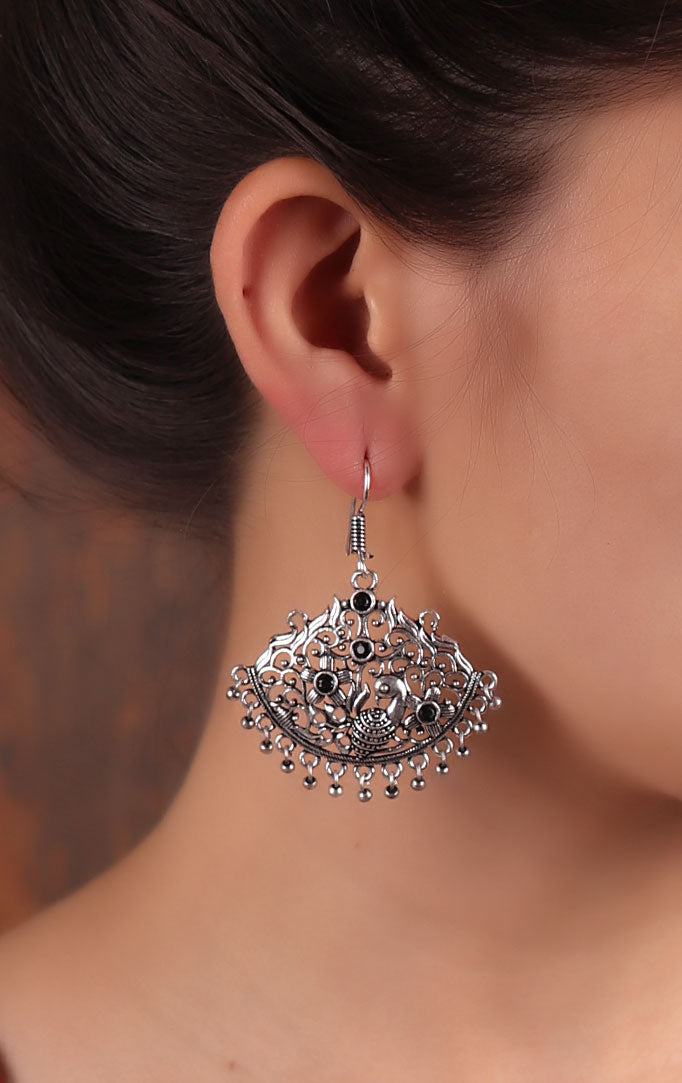 Jaliwork Silver Earrings with Peacock Motif