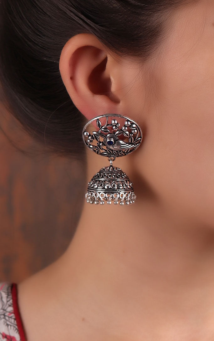 Jaliwork Silver Jhumkas with Bird Motif