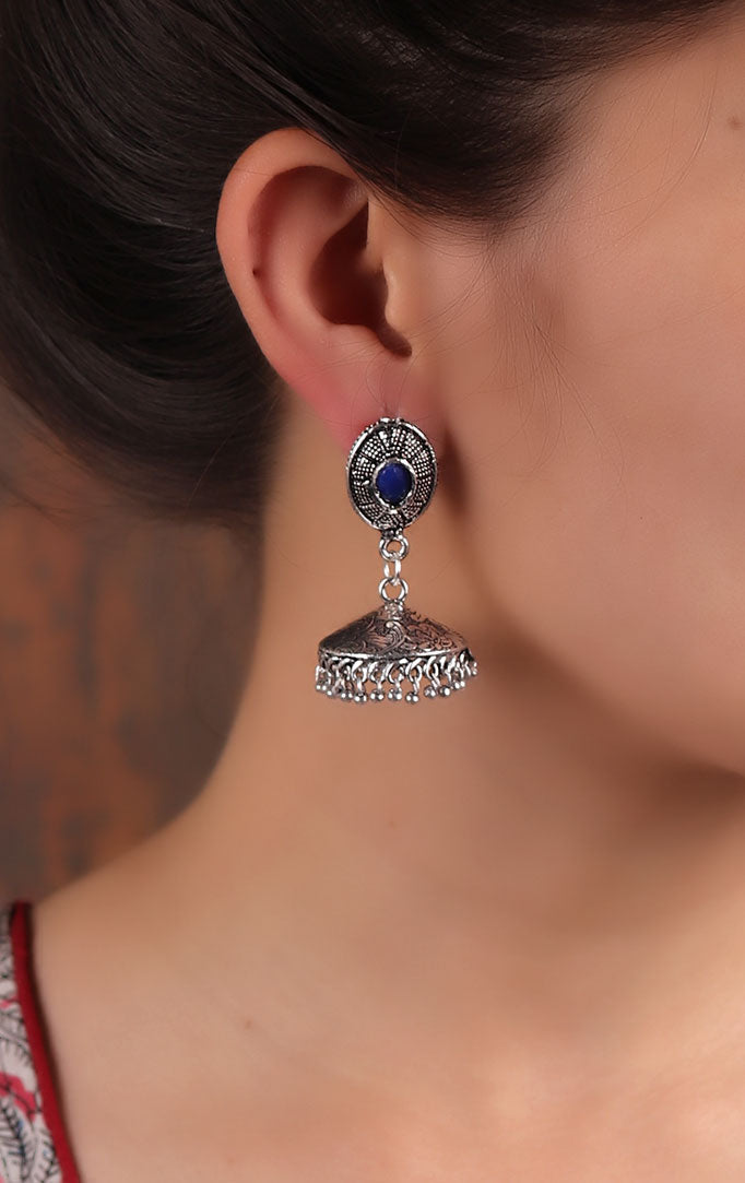Delicate Silver Jhumki with Blue Stone