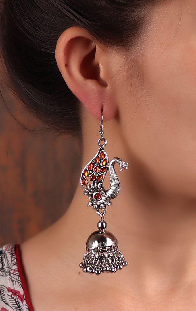 Statement Orange Silver Jhumkas