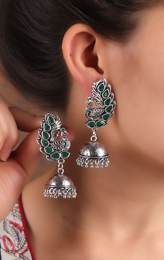 Statement Peacock motif Jhumkas in Green-Silver