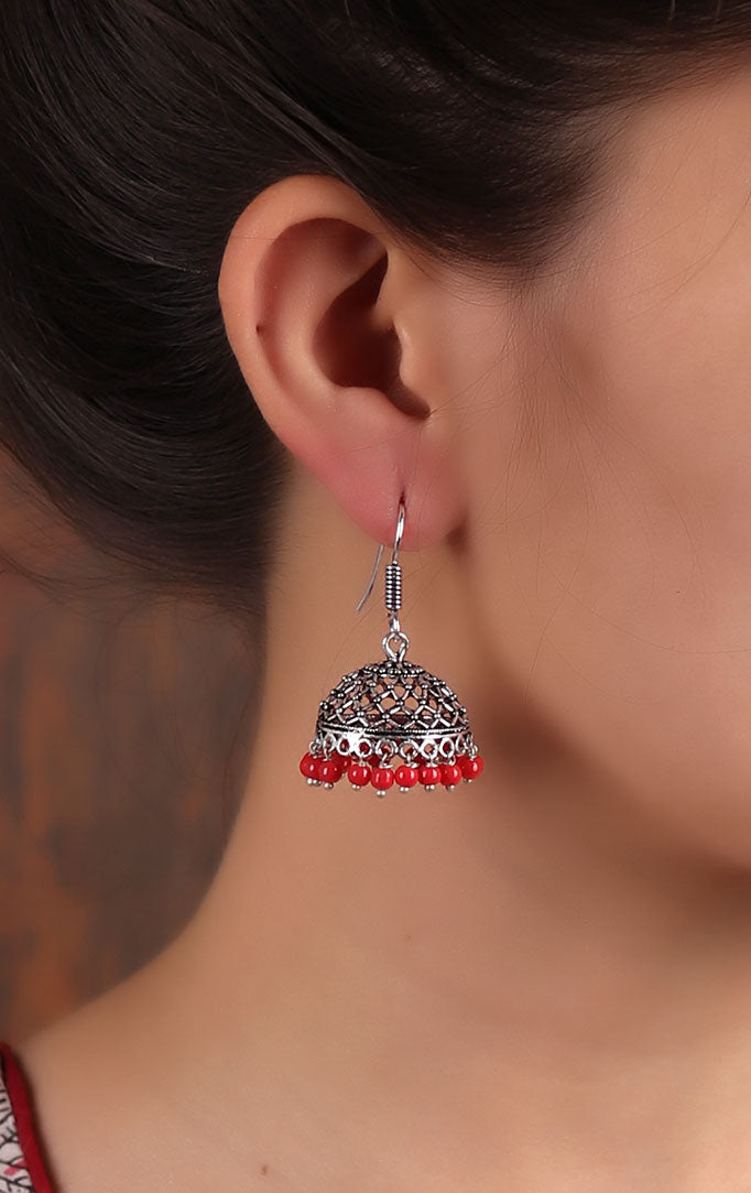 Simple silver-red Jhumkis