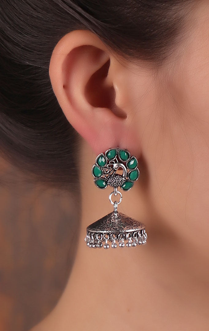 Green-Silver Oxidised Jhumki