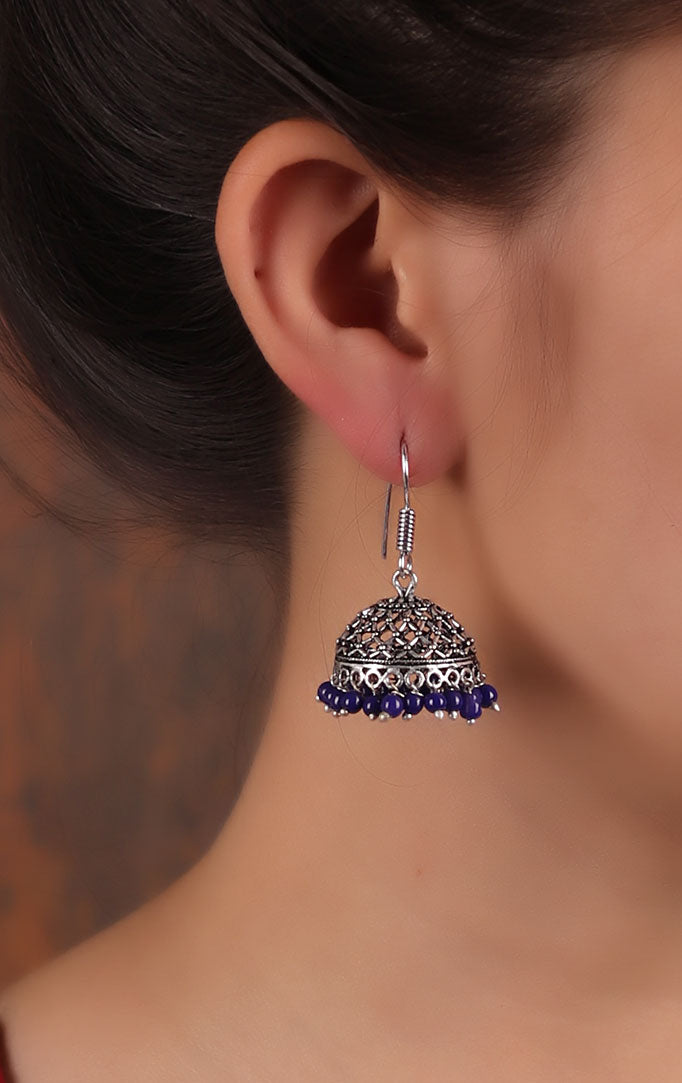Jali detailed Jhumka in Silver & Purple