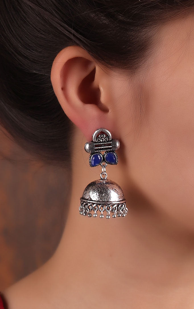 Plain Oxidized Jhumkas with Blue Stones