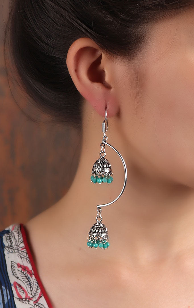 Double layered jhumki in Silver & Turquoise