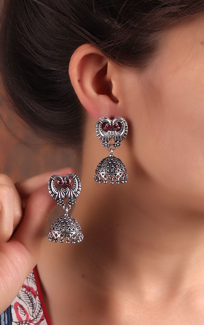 Elegant Oxidized Jhumkas with Red Stones