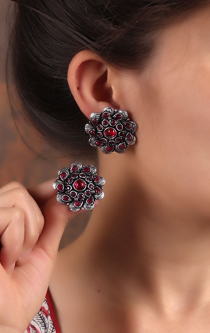 Oxidized statement studs with Red Stones