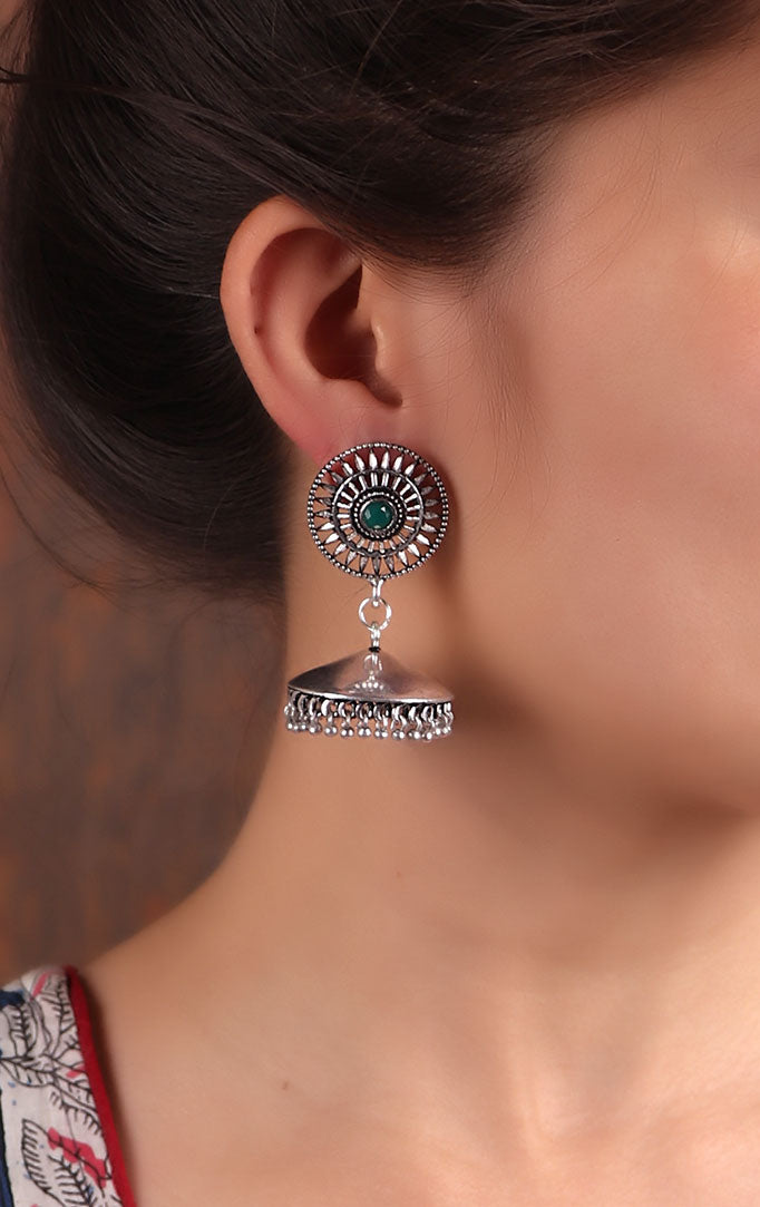 Oxidized Silver Jhumkis with Jali Design
