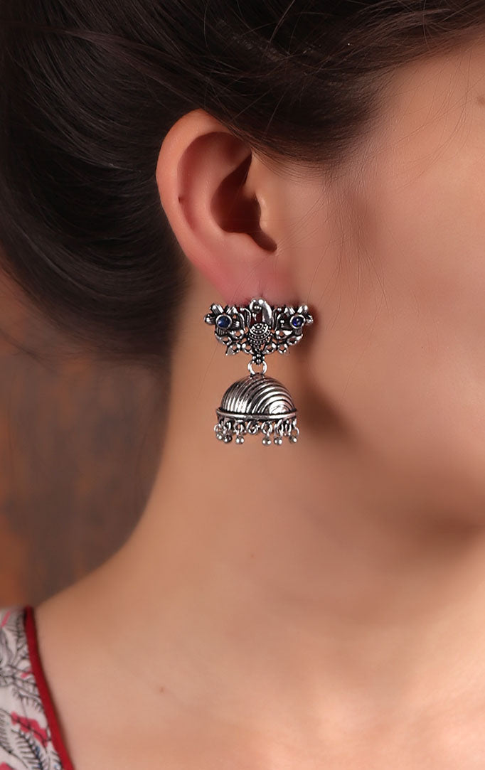 Oxidized Silver Striped Jhumkas