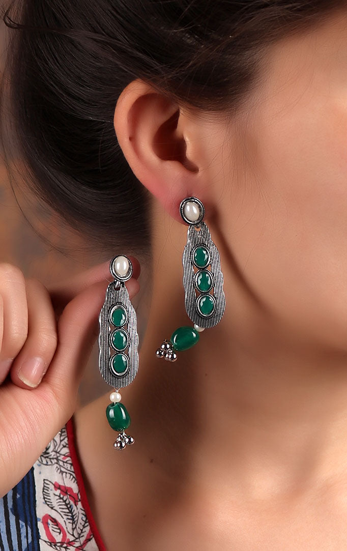Oxidized Drop-Shaped Earrings with Green Stones