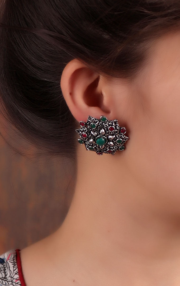 Oxidized Silver Floral Stud with Green-Red Stones