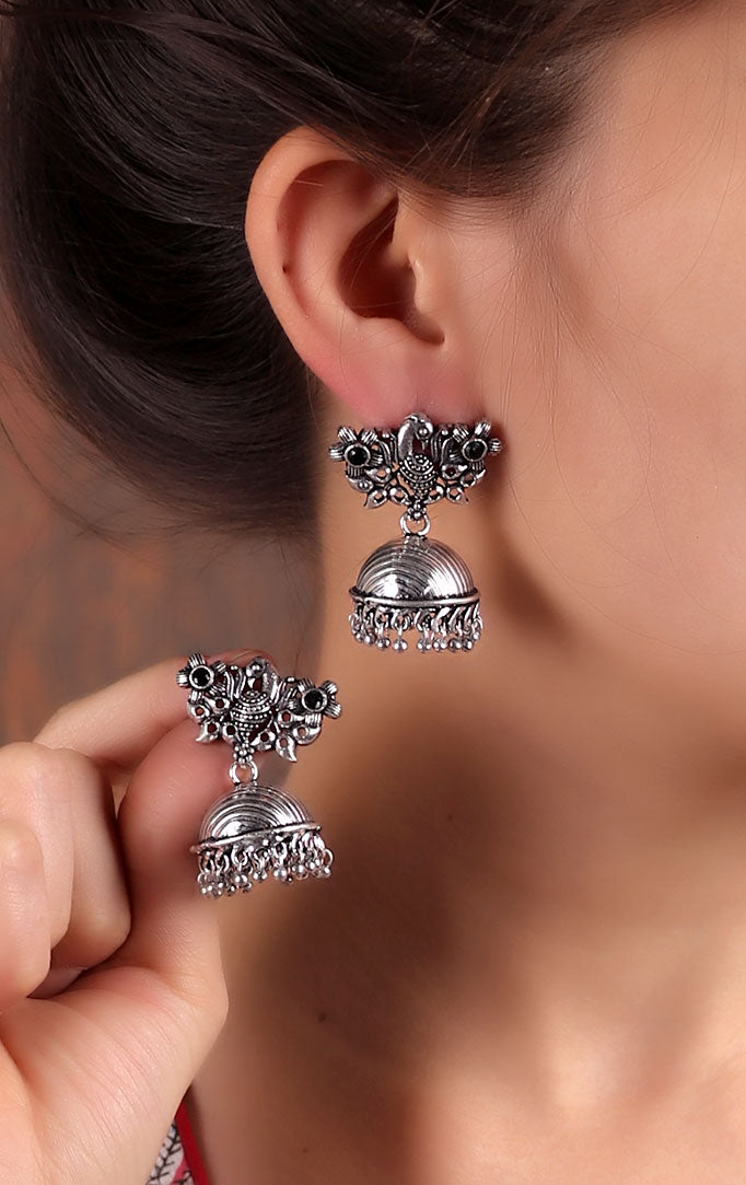 Peacock motif Jhumkas with Black Stones