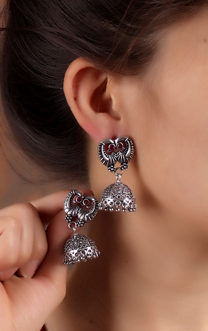 Bird Motif Jhumkas with Jali work.