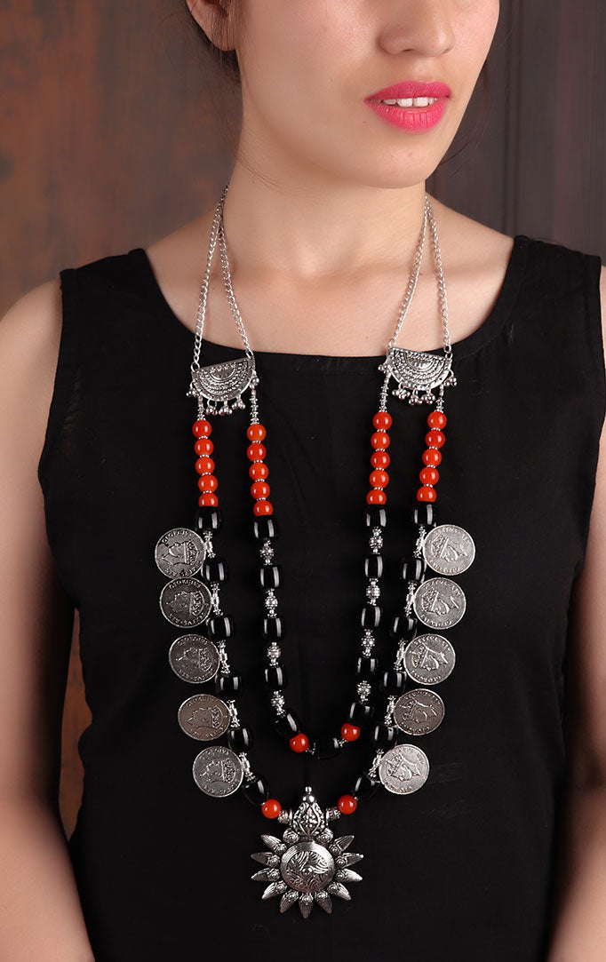 Tribal-inspired Beaded Silver Necklace