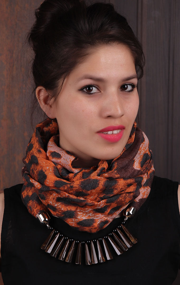 Orange Animal-printed Infinity Scarf Necklace