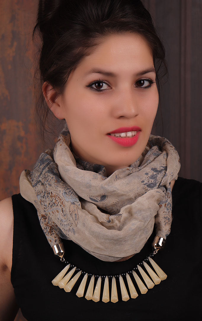 Light Grey Paisley-printed Infinity Scarf Necklace