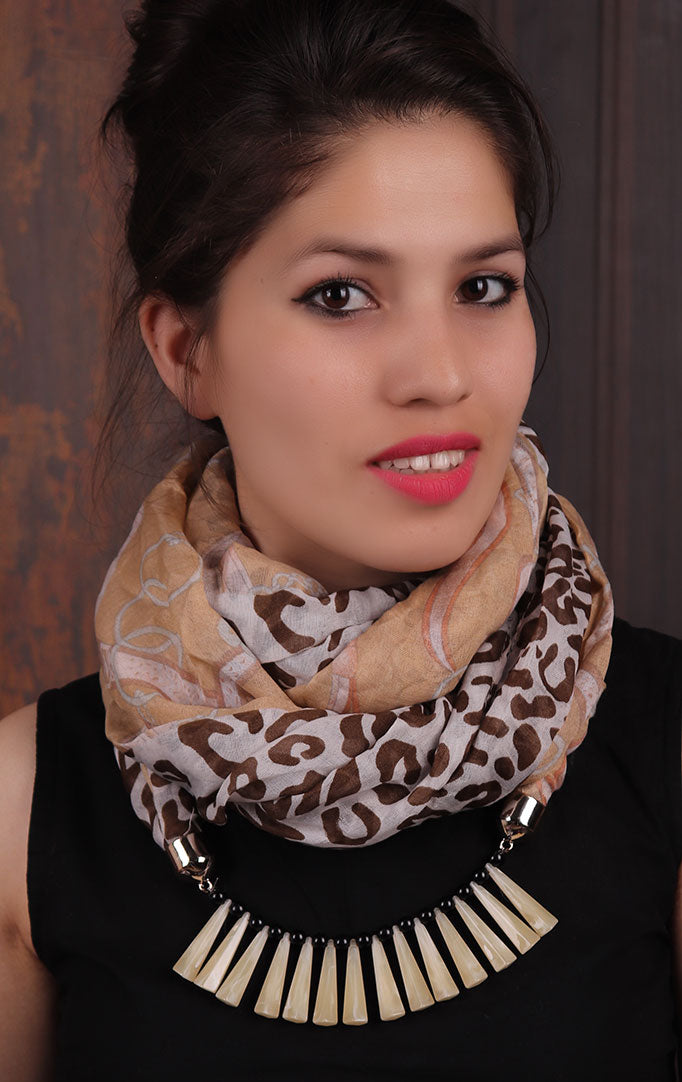 White-Brown Leopard-print Infinity Scarf Necklace