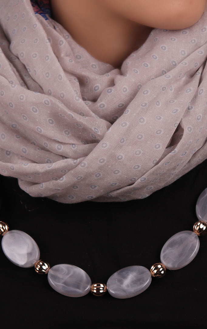 Translucent beads Grey Infinity Scarf Necklace