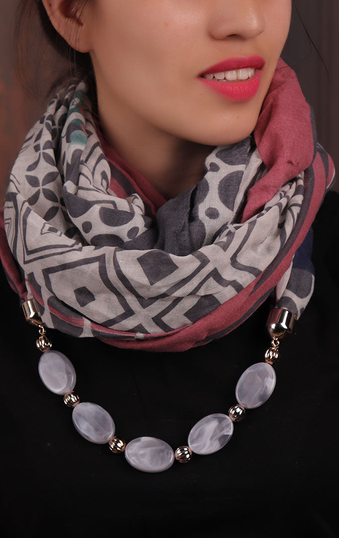 Grey-pink Geometric-printed Infinity Scarf Necklace