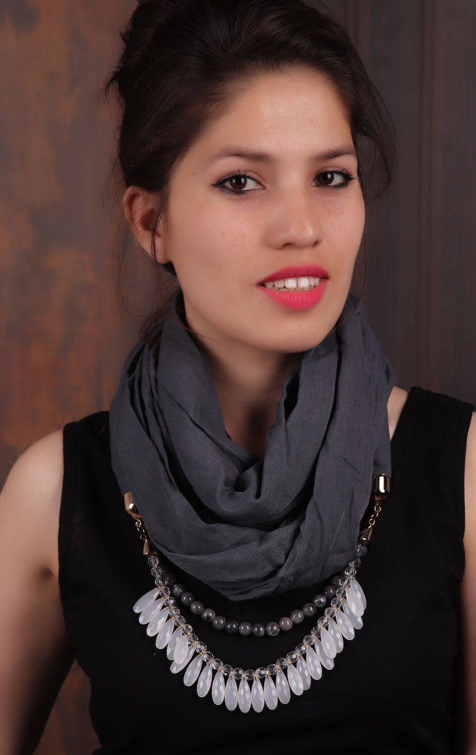 Charcoal-grey Infinity Scarf Necklace